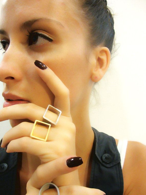Square Ring Geometric Square Ring Open Square Brass by osnatharnoy, on etsy $102