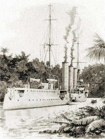 4.1 in light cruiser SMS Konigsberg trapped in the Rufiji delta in what is now Tanzania, 1915.  After several British attempts to destroy her, shallow bottom monitors finally succeeded late that year.  Her guns were salvaged by her crew, which fought on with German East African forces in one of the least known campaigns of the war.