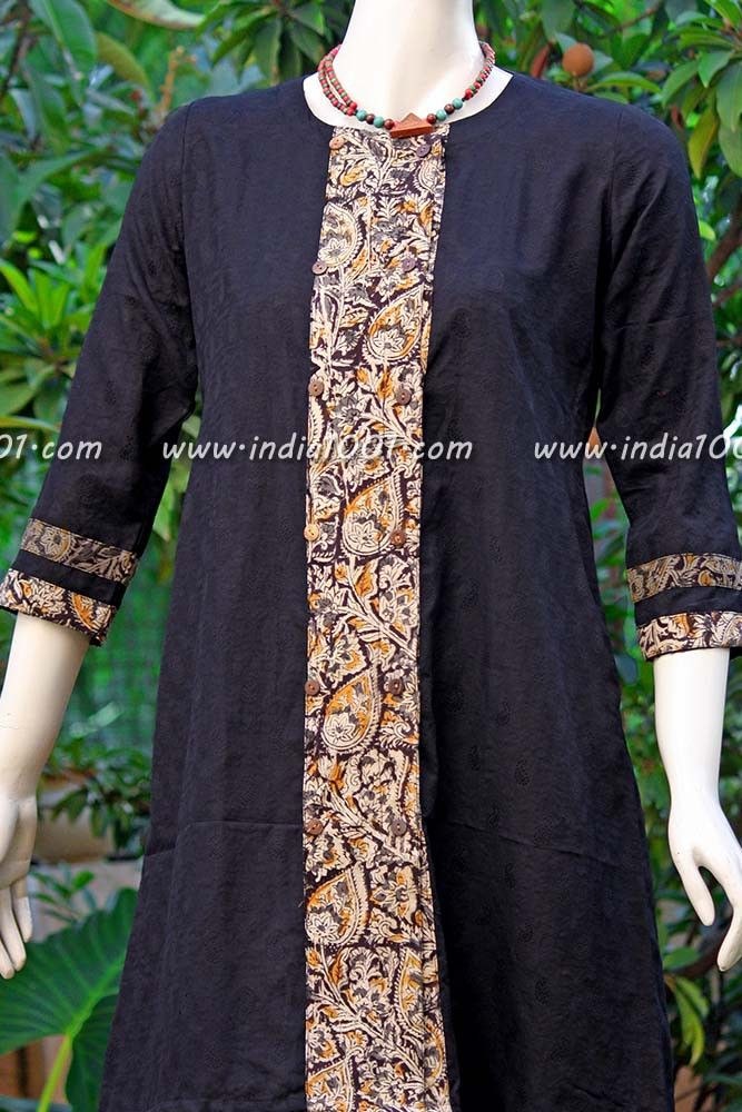 Elegant Jacaurd cotton kurta with kalamkari patches | India1001.com