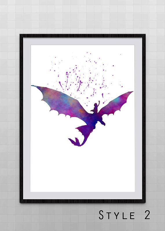 How to Train Your Dragon Hiccup and Toothless watercolor illustrations art movie poster children's room wall art art home decor