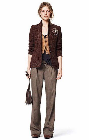 Твидовый пиджак, прямые серые брюки, все Zara