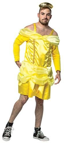 Beauty is a Beast when he slips into this bust-a-gut hilarious My Hairy Princess costume! Yellow one-piece gown, crown headband. Transform your beastly self into the Belle of the ball this Halloween in the Beauty is a Beast My Hairy Princess Funny Men's Costume! #yyc #Calgary #costume #beastly #fairytalesgonewrong #hilarious