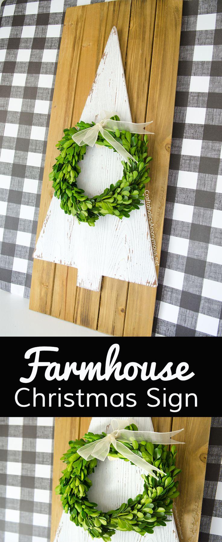 DIY Farmhouse Christmas Sign Craft tutorial idea