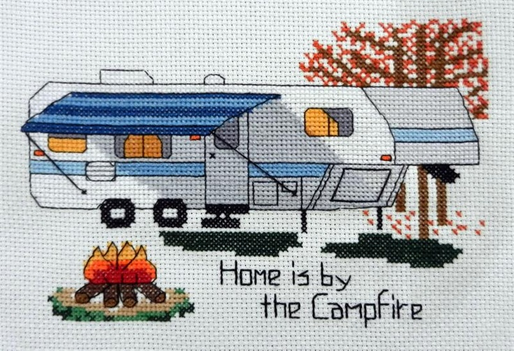 "My Newest Design - Camp Cross Stitch - 5th Wheel ""Home is by the Campfire"""
