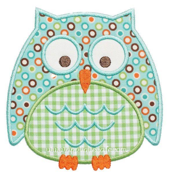 """Owl Applique Design Sizes include: 4x4 hoop (3.73"""" x 3.89"""") 5x7 hoop (4.89"""" x 5.11"""") 6x10 hoop (5.90"""" x 6.17"""") Price: Was $4.00 Sale! $2.00"""