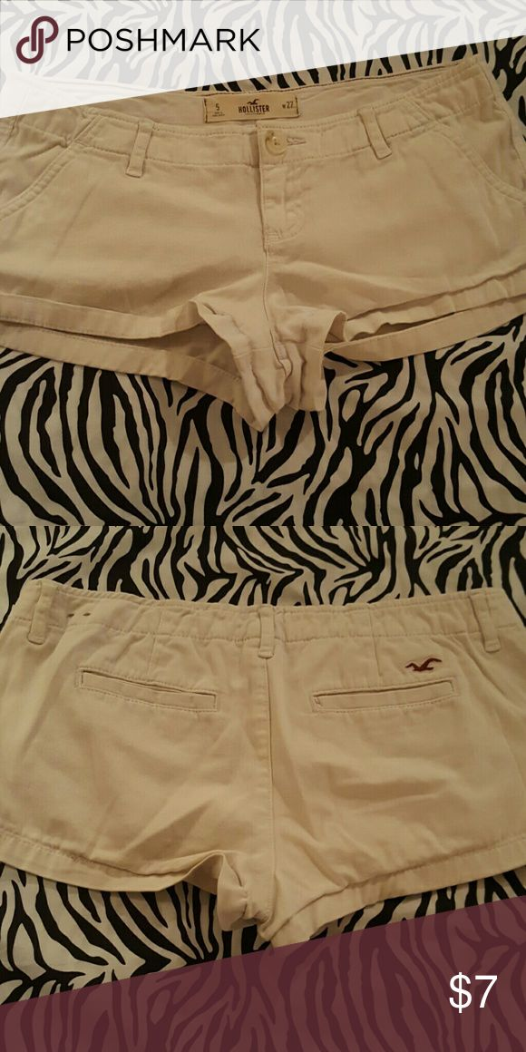 Hollister beige shorts size:5 Gently used from a non smoking home.  Hollister beige  shorts size 5. Cute for the summer!! Hollister Shorts