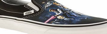 Vans Black And Blue Classic Slip On Star Wars In a galaxy far, far away there was the Vans x Star Wars collection. There youll find the Slip-On plimsoll with its film poster printed fabric upper. Or you could just stay at home, click and check ou http://www.comparestoreprices.co.uk//vans-black-and-blue-classic-slip-on-star-wars.asp