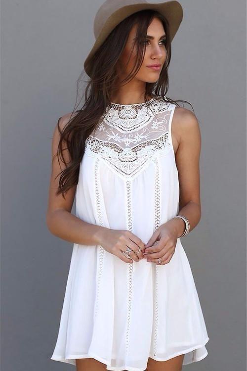 Chiffon Lace Mini Dress, Mini Dress, Round Neck, Above Knee Dress, Lace Dress, lovepeaceboho