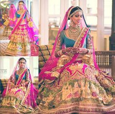 """Neeta Lulla wedding lehenga. A """"Radha Rani"""" inspired outfit with large tanjore panels of the Radha Krisha love story embroidered and painted, bright pink and peacock blues pop the outfit look, vintage embroidery with pearls."""