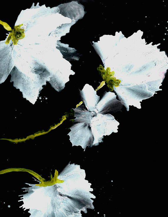 Flower Art Floral Art Print Black Wall Decor Giclee Print
