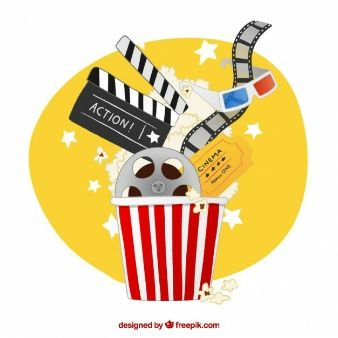 Hand drawn popcorn full cinema elements