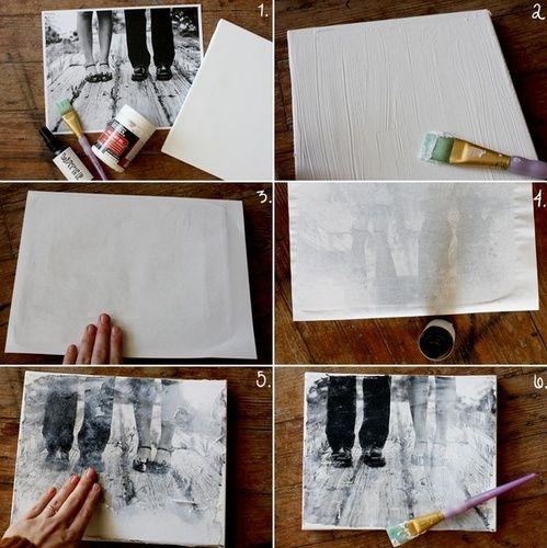 foto's zelf op canvas zetten met modge pot of thinner