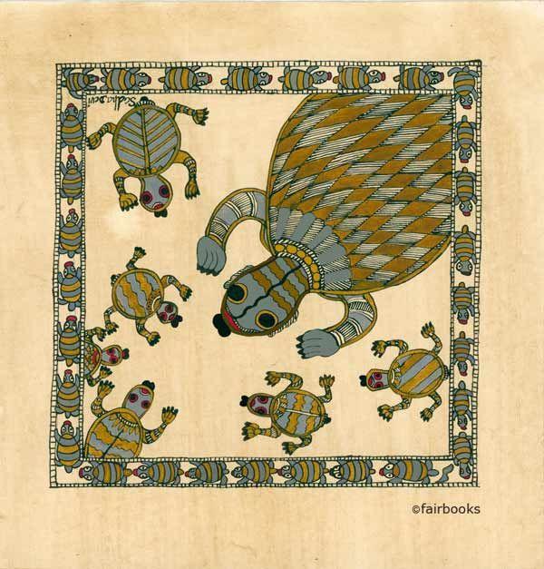 Indiase kunst. Schildpadden schildering op handgeschept papier. Madhubani kunstenaars besteden veel tijd en aandacht aan de decoratieve en symmetrische versieringen van hun werk, vooral de herhaling van patronen.
