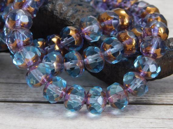 100 Blue//Amber Czech Glass Fire Polished Beads; Size 4mm