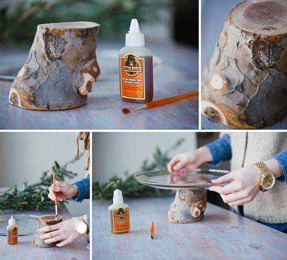 DIY: applewood cake stands