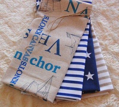 Kup teraz na allegro.pl za 22,00 zł - ZESTAW TKANIN BAWEŁNA - patchwork marynarski  Patchwork fat quarters marine stripes&ships