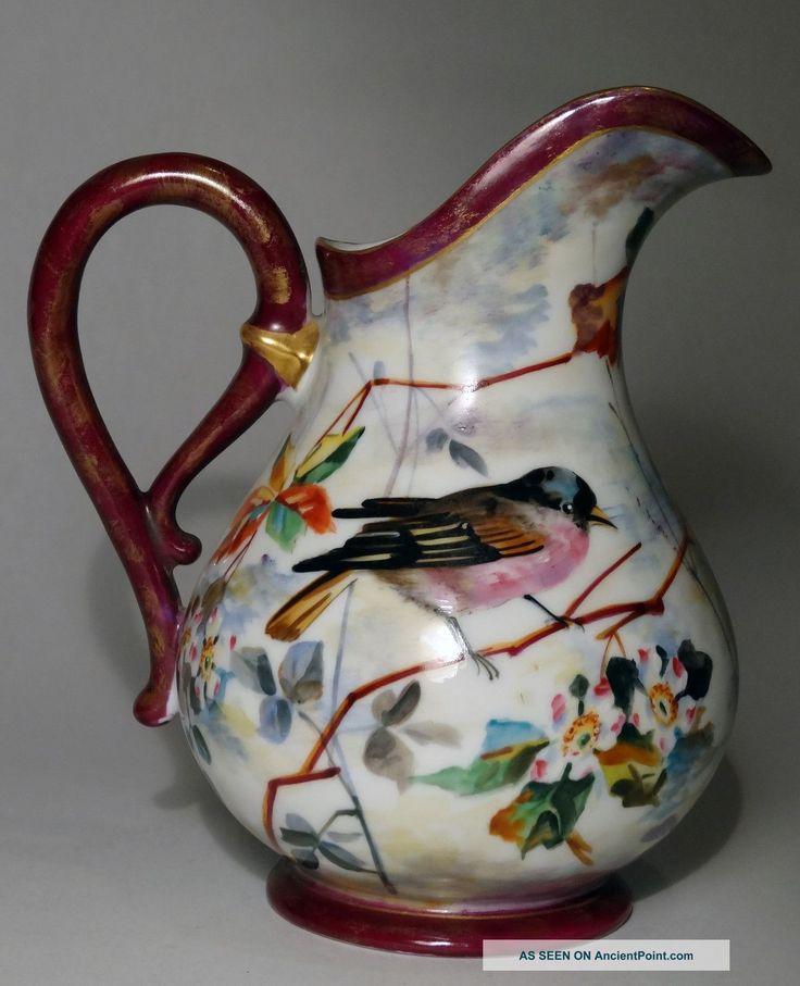 Antique 19th C French Old Paris Porcelain Pitcher W/birds - Flowers - Leaves Pitchers photo