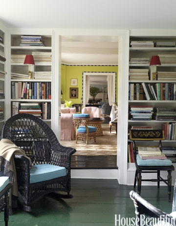 In this historic 18th-century home, designer Jeffrey Bilhuber revived the rooms with bright colors, including the green floor of the library.: Idea, Paintings Wood Floors, Green Floors, Home Libraries Design, House, Bookca, Historical Home, Paintings Floors, Bright Colors