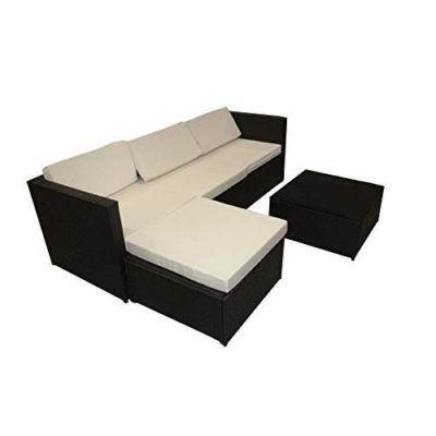 Salotto in ecorattan nero/marrone con cuscini bianchi e tavolino incluso