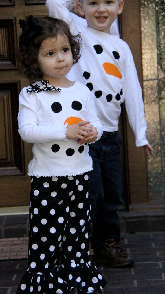 Girly Snowman Shirt and Ruffle Pants by SugarThumb on Etsy, $35.00