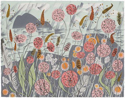 Angie Lewin - Lichen & Thrift - screen print