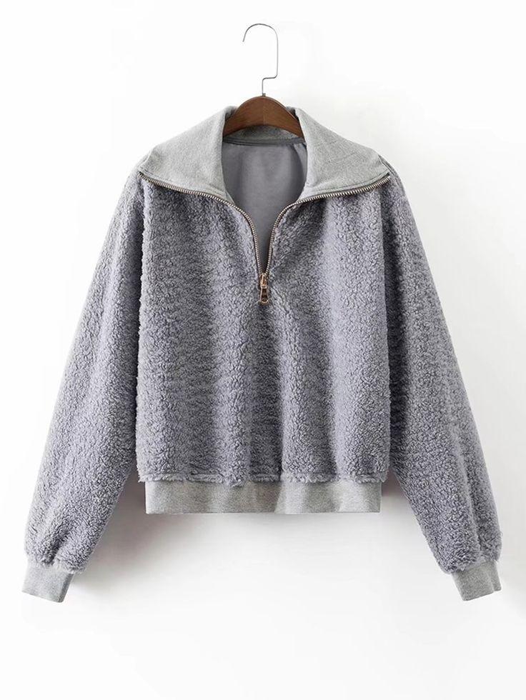 Shop Zipper Up Lambswool Sweatshirt online. SheIn offers Zipper Up Lambswool Sweatshirt & more to fit your fashionable needs.