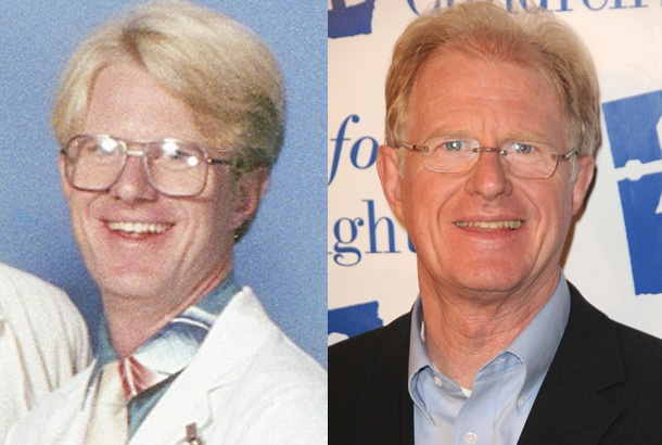 Ed Begley Jr. as Dr. Victor Ehrlich on St. Elsewhere in 1983 and Ed Begley Jr. in 2012