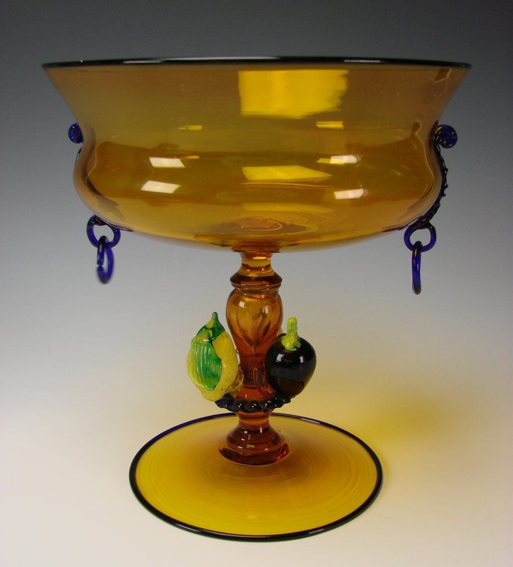 Antique Venetian Fratelli Toso Glass Bowl w/applied Fruit Stem Vase from Hide and Go Keep