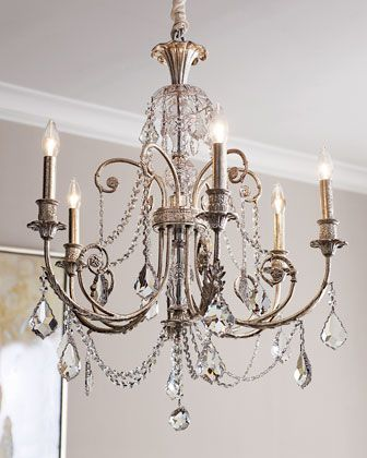"""$835 """"Delphine"""" Chandelier at Horchow.  Old-fashioned glamour makes an appearance here on this six-light wrought iron chandelier with silvery finish and a display of clear, hand-cut crystals to enrich the visual palette of your setting. Uses six 60-watt bulbs. 26""""Dia. x 30""""T with 6'L chain."""