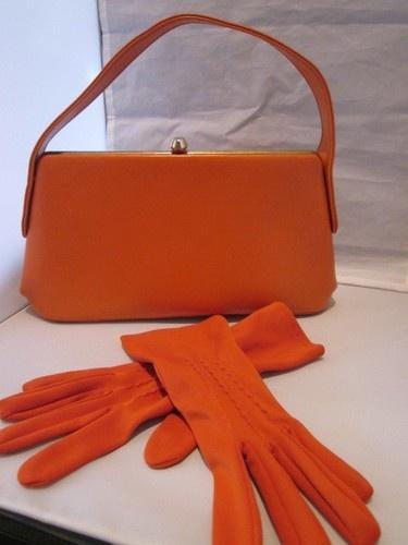 Matching Gloves Vintage Tangerine Orange Purse Kelly Handbag Mad Men 50s 60s   My Nifty Thrifty   eBay
