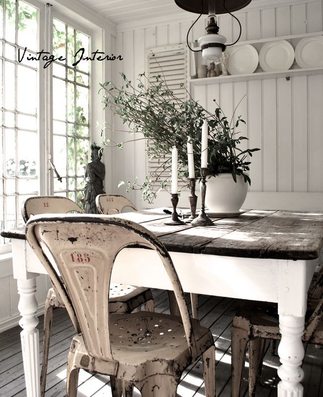 Charming Country Dining Painted Table Base With Stained Plank Top