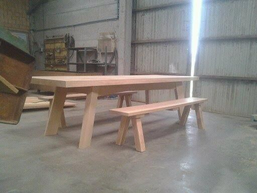 Selfmade wooden table and bench. Love the simple design!