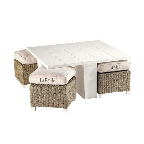 Mesa baja + 4 taburetes de madera blanca An. 95 cm: