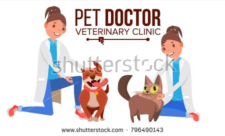 Veterinarian Woman Vector. Dog And Cat. Clinic For Animals. Pet Doctor, Nurse. Treatment For Wild, Domestic Animals. Isolated Flat Cartoon Illustration