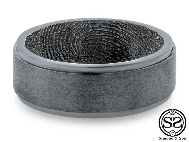 custom lovemark fingerprint mens wedding band black rhodium finish design by simone son