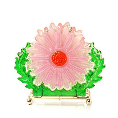 Vintage Midcentury Pink Flower Napkin Letter Holder Lucite Acrylic Resin Retro