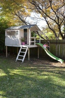 backyard - cute clubhouse with slide