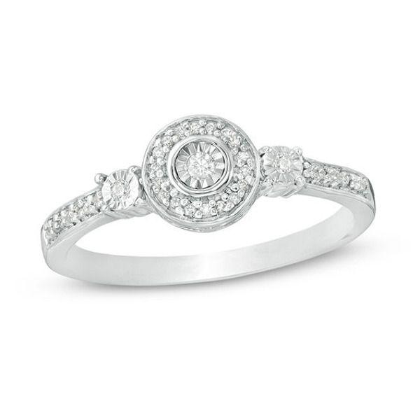 1 10 Ct T W Diamond Frame Three Stone Promise Ring In Sterling Silver Diamond Promise Rings Promise Rings Fashion Rings