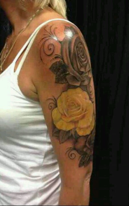 Gorgeous rose design on arm - by New Wave Tattoo, London.