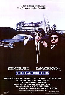 The Blues Brothers    Theatrical release poster //  Directed by	John Landis  Produced by	Bernie Brillstein  George Folsey, Jr.  David Sosna  Robert K. Weiss  Written by	Dan Aykroyd  John Landis  Starring	John Belushi  Dan Aykroyd  Music by	Elmer Bernstein  Cinematography	Stephen M. Katz  Editing by	George Folsey, Jr.  Distributed by	Universal Studios  Release date(s)	  June 20, 1980  Running time	133 minutes  Country	United States  Language	English