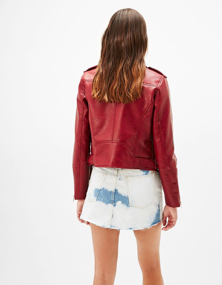 Leather-effect biker jacket. Discover this and many more items in Bershka with new products every week