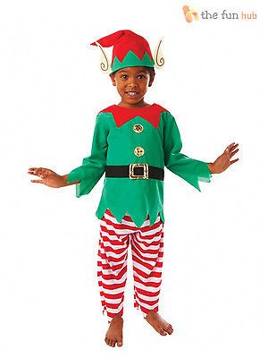 a2076801fa381 Age 3-8 Kids Elf Costume Santas Little Helper Boys Child Christmas Fancy  Dress