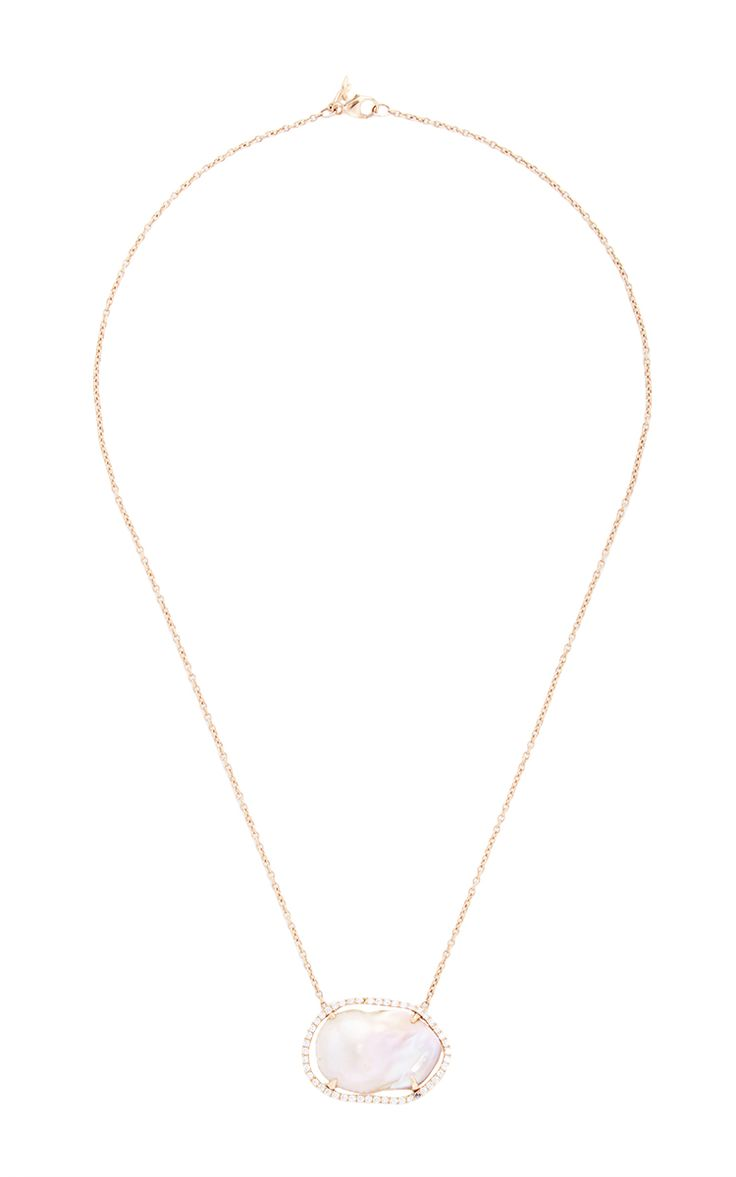 One Of A Kind 18K Rose Gold Diamond And Pearl Necklace - Jordan Alexander Spring Summer 2016 - Preorder now on Moda Operandi