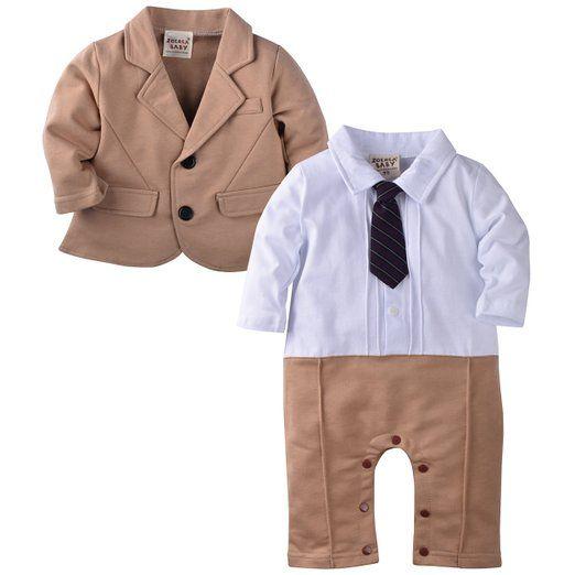 ZOEREA 2pcs del neonato Gentleman pagliaccetto tuta da sposa Abiti Tuxedo Battesimo Compleanno pagliaccetto & Jacket (80 (6-9 mesi)) DA EURO 26,99