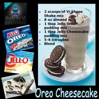 body by vi oreo cheesecake recipe.. Yum. I may have to try