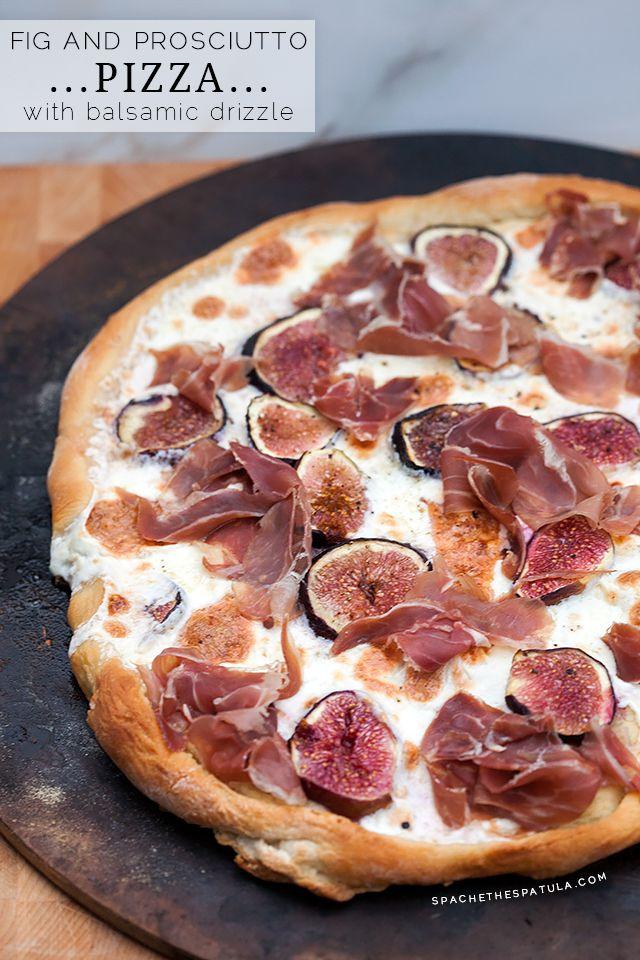 Fig and Prosciutto Pizza with Balsamic Drizzle   spachethespatula.com #recipe