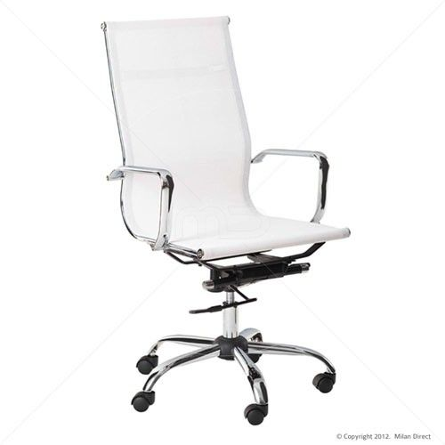 Mesh Executive Office Chair - Eames Reproduction - High Back White 25% OFF | $149.00 - Milan Direct