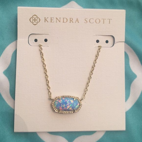Kendra Scott Blue Opal and good Elisa necklace NWT gorgeous Blue Opal and gold Elisa necklace. This is a customized piece, and perfect for those of you that love blue Opal, but prefer to wear gold. Kendra Scott Jewelry Necklaces