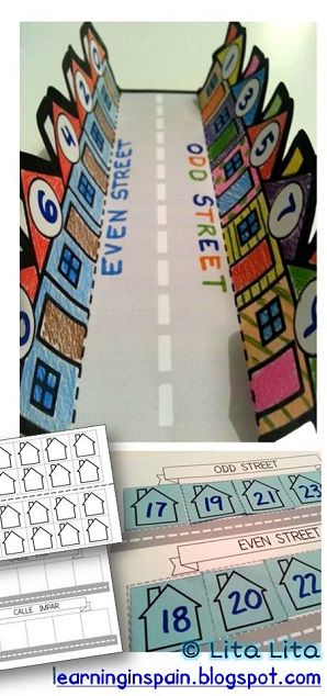 Odd and even street fun foldable. English & Spanish THINKING THIS WOULD BE A GOOD TEMPLATE AND IDEA FOR PROPER AND COMMON NOUN TOWNS!: