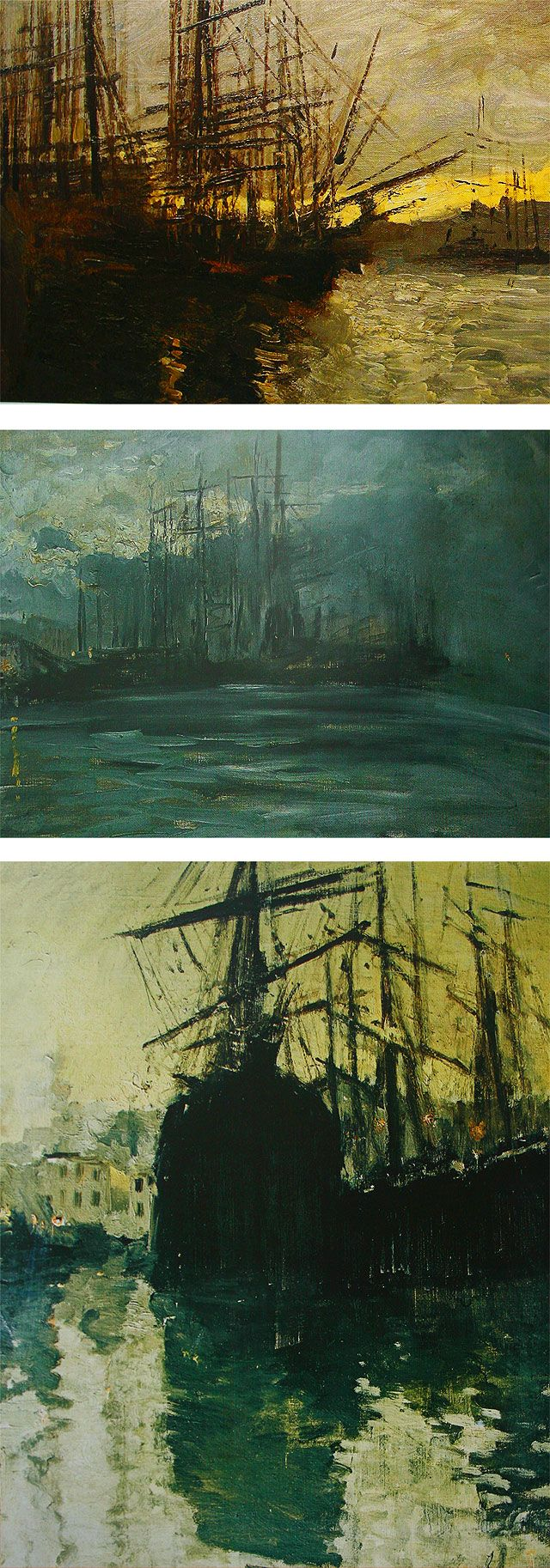 Landscapes by Konstantin Korovin: Ships. Marseille. 1890, Port of Marseilles…